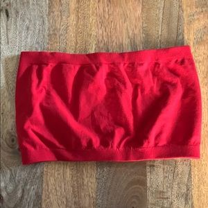One Size Red Bandeau flat stretchy elastic bra top